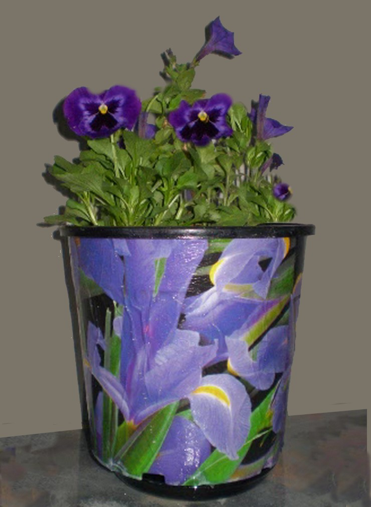 decoupaged plastic pot with pansies