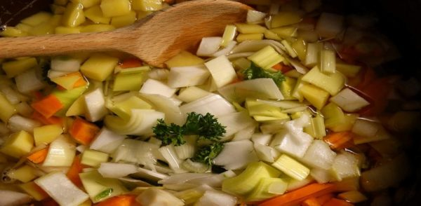 simmering vegetable stock