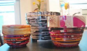 bowls made from recycled coiled magazines
