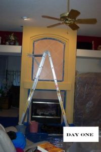 rear view of faux fireplace