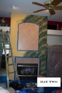 adding glaze to faux marble fireplace