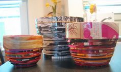 colorful coiled magazine bowls