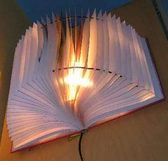 lampshade made from a book