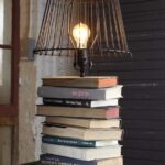 stacked book lamps