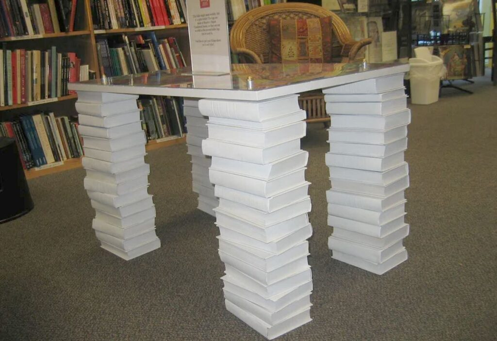 table legs made from stacked books