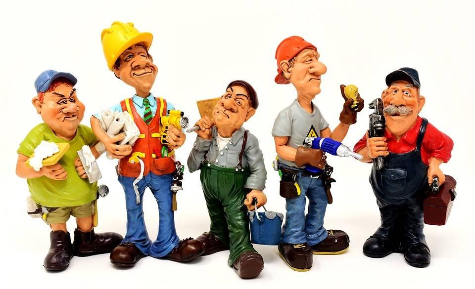 cartoon of contractors holding tools