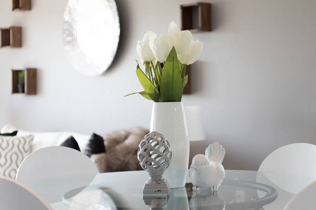white tulips against white interior wall