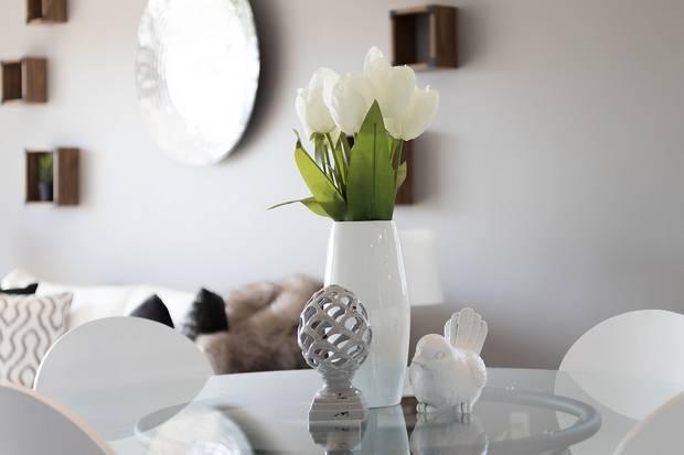 white tulips against white interior wall