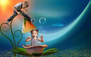 child has shower under a flower